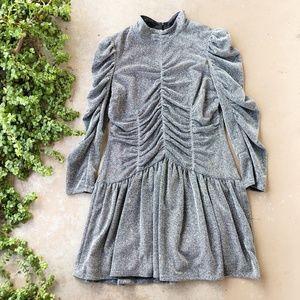 Rebecca Taylor Lurex Silver Glitter Jersey Dress